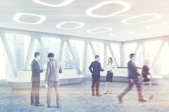 Spaceship style office interior, people Royalty Free Stock Photo