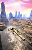 Spaceship takeoff and city. 3D render science fiction illustration Royalty Free Stock Photography
