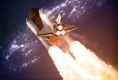 Spaceship taking off on a mission throw the warmhole portal in outer space. Elements of this image are furnished by NASA royalty free stock image