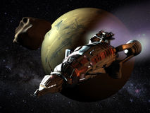 Spaceship to Mars. Futuristic spaceship passing close to planet Mars Stock Image