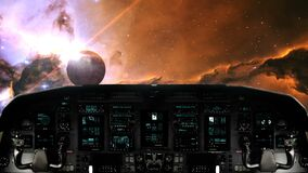 Spaceship Traveling Towards a Planet in a Distant Galaxy. Futuristic Spaceship Cockpit Dashboard with Functional Monitors stock video footage