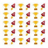 Spaceship and trophy cup background Stock Photo