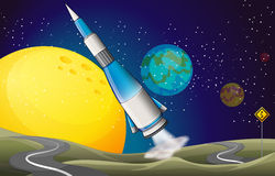 A spaceship and two winding roads Royalty Free Stock Images