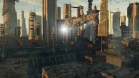 Spaceship UFO alien. 3d Spaceship UFO and futuristic city Stock Photos