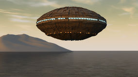 Spaceship UFO and planet Royalty Free Stock Photo