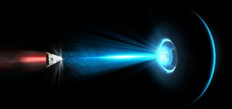 Free Spaceship, UFO, Tractor Beam. Spatial Module Struck By A Laser Beam. Ray Of Light. Repulsive Ray. Science Fiction Stock Images - 138916264