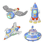 Spaceship and UFO vector cartoon set, Rocket, spacecraft. Spaceship and UFO vector cartoon set,  Rocket and spacecraft Royalty Free Stock Photography