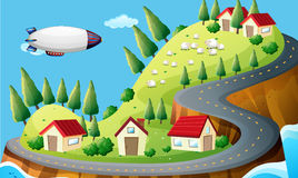 A spaceship and a village Stock Photo