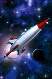 Spaceship vintage rocketship. 3D render science fiction illustration Royalty Free Stock Photo