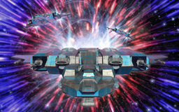 Spaceship and warp drive Stock Photos