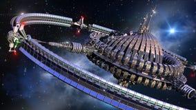 Spaceship wheel in interstellar travel Stock Photography