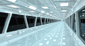 Spaceship white corridor 3D rendering Royalty Free Stock Photography