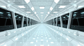 Spaceship white corridor 3D rendering Royalty Free Stock Images
