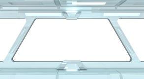 Spaceship white corridor 3D rendering Royalty Free Stock Photo