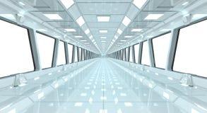 Spaceship white corridor 3D rendering Stock Image