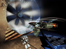 Spaceship into wind tunnel Royalty Free Stock Photo