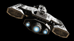 Spaceship With Blue Engine Glow Royalty Free Stock Images