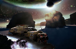 Spaceship wreck on alien planet. A spaceship failed on a beach, on the coast of an ocean, on an alien planet stock illustration