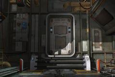 Spaceshiplucka vektor illustrationer