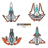 Spaceships aircraft design. Spaceships  aircraft design vector set in flat style Stock Images