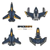 Spaceships aircraft design. Spaceships  aircraft design vector set in flat style Stock Photos