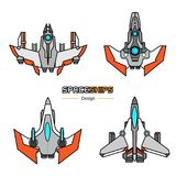 Spaceships aircraft design. Spaceships  aircraft design vector set in flat style Royalty Free Stock Image