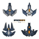Spaceships aircraft design. Spaceships  aircraft design vector set in flat style Royalty Free Stock Images