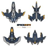 Spaceships aircraft design. Spaceships  aircraft design vector set in flat style Royalty Free Stock Photo