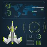 Spaceships aircraft with future sight action mode interface Royalty Free Stock Photos