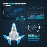 Spaceships aircraft with future sight action mode interface Stock Image