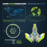 Spaceships aircraft with future sight action mode interface Stock Photography
