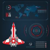 Spaceships aircraft with future sight action mode interface Stock Images