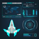 Spaceships aircraft with future sight action mode interface Royalty Free Stock Photo