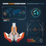Spaceships aircraft with future sight action mode interface Royalty Free Stock Images