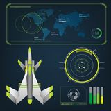 Spaceships aircraft with future sight action mode interface Royalty Free Stock Photography