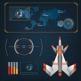 Spaceships aircraft with future sight action mode interface Stock Photos