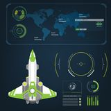 Spaceships aircraft with future sight action mode interface Royalty Free Stock Image
