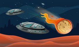 Spaceships and astroid in the space Royalty Free Stock Images