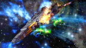 Spaceships battle. A spaceships battle with a blue nebula in background in 3d Stock Image