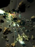 Spaceships battle into asteroids belt Stock Images
