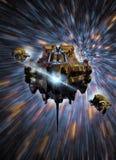 Spaceships bij licht-snelheid stock illustratie