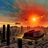 Spaceships die over de vreemde stad vliegen Royalty-vrije Stock Afbeeldingen