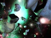 Spaceships en asteroïden Royalty-vrije Stock Foto's