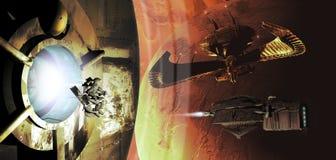Spaceships en planeten Stock Afbeelding