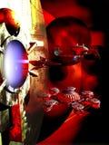 Spaceships en planeten stock illustratie