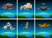 Spaceships floating in the dark space Stock Photography
