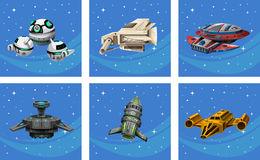 Spaceships floating in the space Stock Image