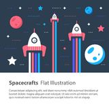 Spaceships flying in space among stars and planets, children flat illustration. Three spacecrafts flying in space among stars and planets, space race, children Royalty Free Stock Photography