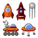 Spaceships Icons Set Stock Photos