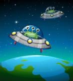 Spaceships met vreemdelingen Stock Foto's